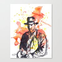 indiana jones Canvas Prints featuring Indiana Jones by idillard