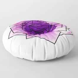 Purple Watercolor Dream Rose Floor Pillow