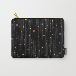 Squares and Vertical Stripes - Rainbow on Black - Hanging Carry-All Pouch