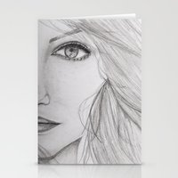 emma stone Stationery Cards featuring Emma Stone Drawing by Olivia Scotton