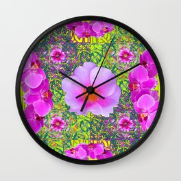Yellow Pattern Pink Roses & Purple Orchids Abstract Wall Clock