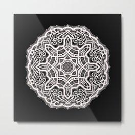 Mandala Project 209 | White Lace on Black Metal Print