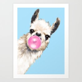 Bubble Gum Sneaky Llama in Blue Art Print