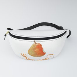 Snack time - pear drawing by pastel on white background Fanny Pack