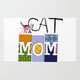 CAT MOM colorful CAT ART abstract collage art Rug