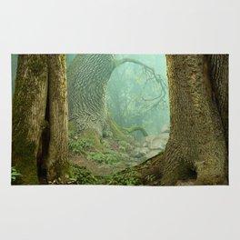 Enchanted misty forest Rug