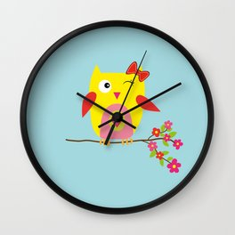 Cute Yellow Owl - Pink Flowers Illustration Wall Clock