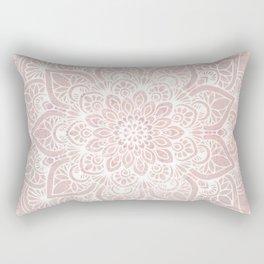 Mandala Yoga Love, Blush Pink Floral Rectangular Pillow