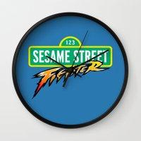 sesame street Wall Clocks featuring Sesame Street Fighter by Franz24