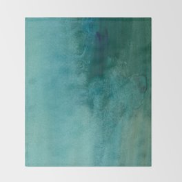 Forest green teal hand painted watercolor ombre Throw Blanket