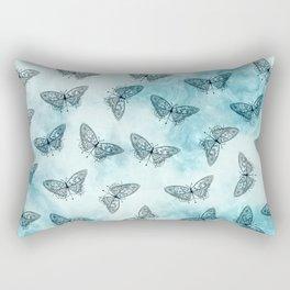 Black Butterfly Print Rectangular Pillow
