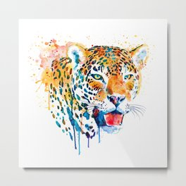 Leopard Head Portrait Metal Print