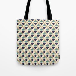 DECO - teal navy gold ivory diamond artdeco pattern Tote Bag