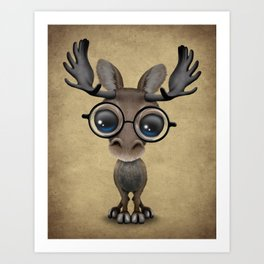 Cute Curious Baby Moose Nerd Wearing Glasses Art Print