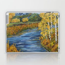 Autumn in the Mountains, Fall Decor, Aspen Birch Tree Painting Laptop & iPad Skin