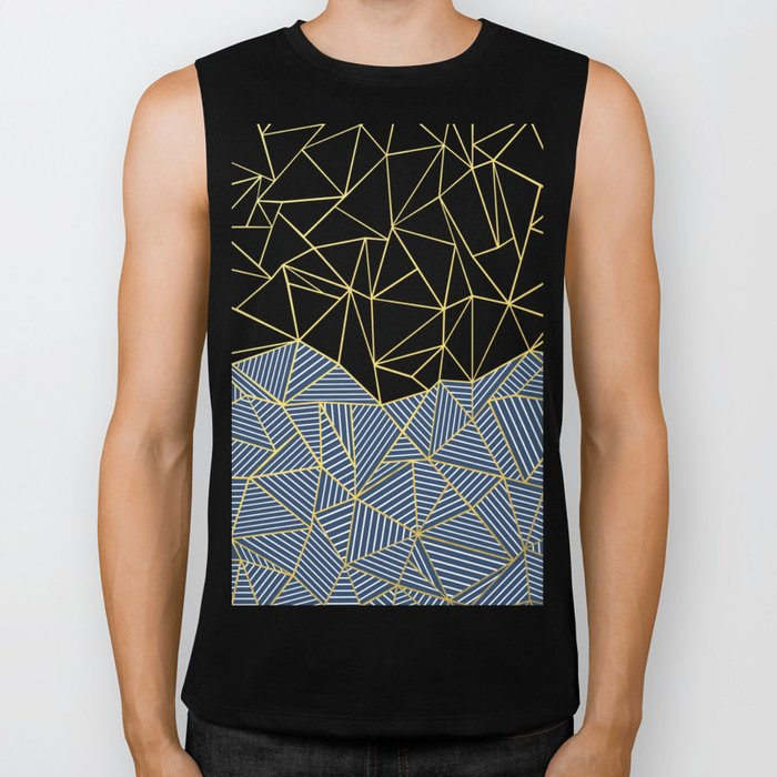 Ab Half and Half Navy Gold Biker Tank