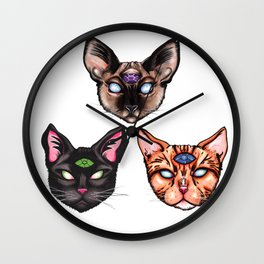 Three Psychic Cats Wall Clock