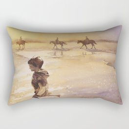 Watercolor painting of child and horses on beach on Ocracok Island at sunset- Outer Banks, North Car Rectangular Pillow