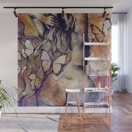 Sugar Coated Sour: Autumn (nude curvy pin up with butterflies) Wall Mural