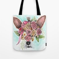 yorkie Tote Bags featuring Yorkie by Carmen McCormick