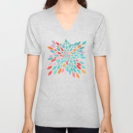 Radiant Dahlia - teal, orange, coral, pink watercolor pattern Unisex V-Neck