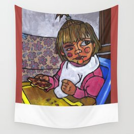Baby with Pizza Wall Tapestry