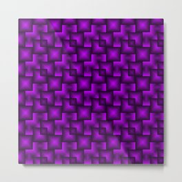 A chaotic mosaic of convex squares with violet intersecting bright rectangles and highlights. Metal Print