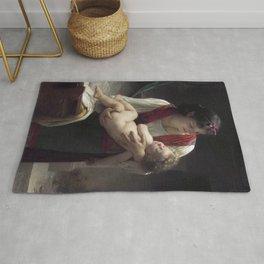 "William-Adolphe Bouguereau ""Berceuse (Le coucher)"" Rug"