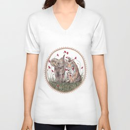 Tiger, Baby Elephant, and Mouse Playing in Poppies Unisex V-Neck