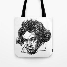 Ludwig Van Beethoven line drawing Tote Bag