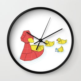 Mother Goose and her Ducklings going out for a swim Wall Clock