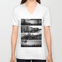 cityscape V-neck T-shirts featuring CITYSCAPE by Grafikki Shop