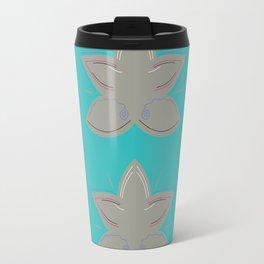 Grey lotuses on blue Travel Mug