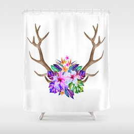 Floral Horn Shower Curtain
