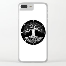 black and white tree of life with moon phases and celtic trinity knot Clear iPhone Case