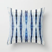 nori Throw Pillows featuring Nori Blue by Nina May Designs