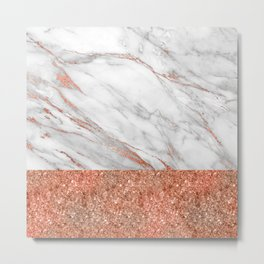 Luxury and glamorous pink glitter and white marble Metal Print