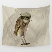 cigarette Wall Tapestries featuring trendy owl by Кaterina Кalinich
