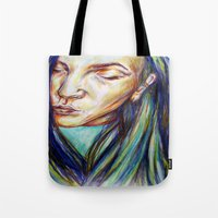 leah flores Tote Bags featuring Leah by Chloe Gibb