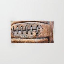 Old leather soccer ball Hand & Bath Towel