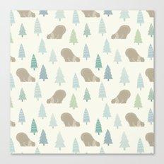 Merry Christmas Polar bear - Animal pattern Canvas Print
