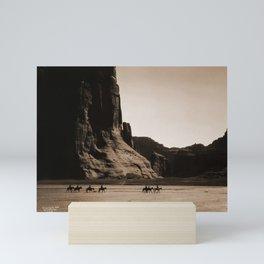 Canyon de Chelly - Chinle, Arizona – Navajo Indians on Horseback by Edward Curtis Mini Art Print