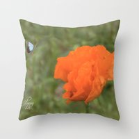 poppy Throw Pillows featuring Poppy by Fine Art by Rina
