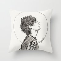 louis Throw Pillows featuring Louis by harrydoodles