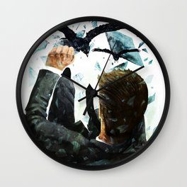 Falling To The Crows Wall Clock