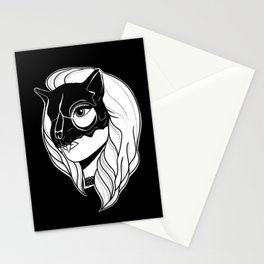 Pretty Girl with a Cat Skull Mask Stationery Cards