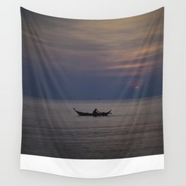 Rowing into the sunset II Wall Tapestry