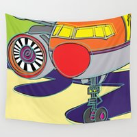 airplane Wall Tapestries featuring Jet Airplane by Paco Dozier