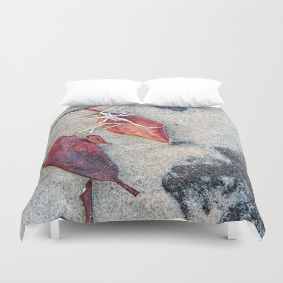 Coralline algae and dead leaf on sand Duvet Cover