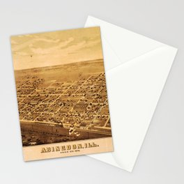Aerial View of Abingdon, Illinois (1874) Stationery Cards
